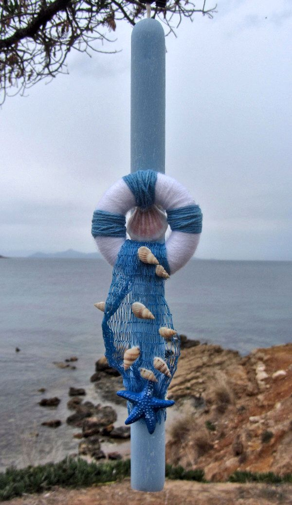 Greek Easter candle (lampada) with shells and life preserver by amZinspirations on Etsy https://www.etsy.com/listing/272524690/greek-easter-candle-lampada-with-shells
