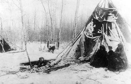 Beaver family near Peace River, Alberta - circa 1910