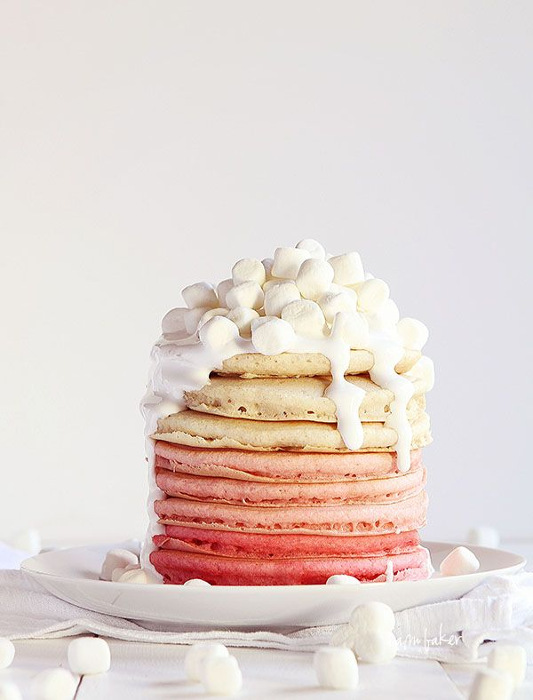 Pink Ombre Pancakes with Marshmallow Fluff Frosting ♥