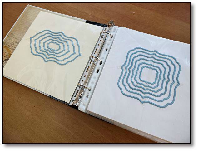 Rangement des Dies - use avery magnetic sheets in the page covers