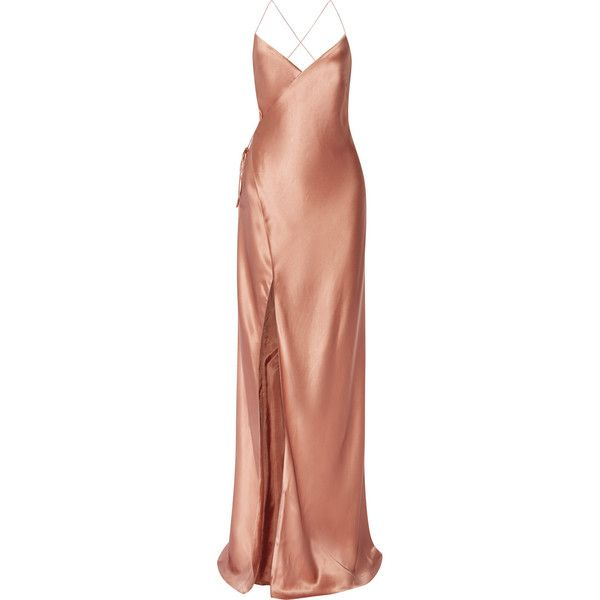 Michelle Mason Silk-satin wrap gown ($1,055) ❤ liked on Polyvore featuring dresses, gowns, long dresses, vestidos, michelle mason, wrap gown, open back gown, wrap dress, red ball gown and red rose dress
