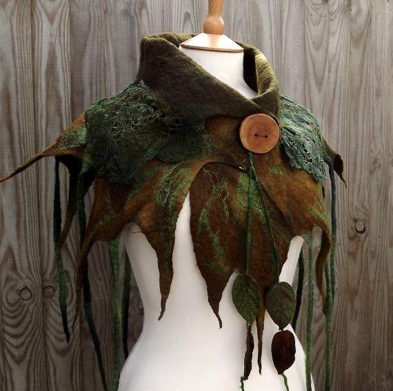 wild pixie cowl rustic woodland scarf woodland scarf von folkowl
