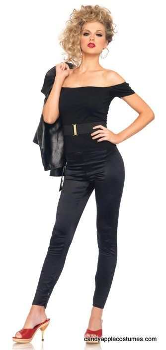 """You'll be the one that he wants in this sexy """"bad girl"""" Sandy outfit, inspired by the movie Grease! Licensed adult costume includesblack off the-shoulder-top, belt, and black skin-tight pants."""