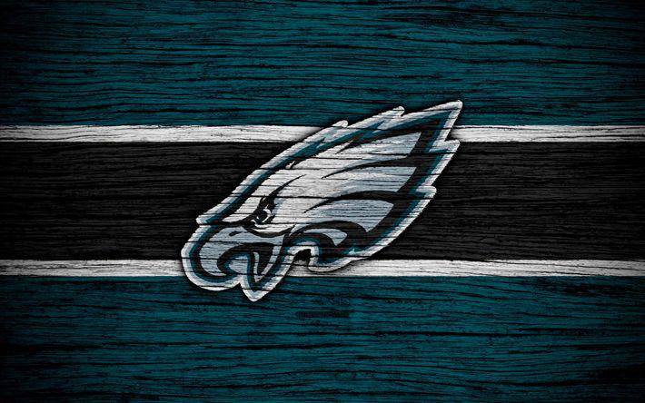 Download wallpapers Philadelphia Eagles, 4k, wooden texture, NFL, american football, NFC, USA, art, logo, East Division