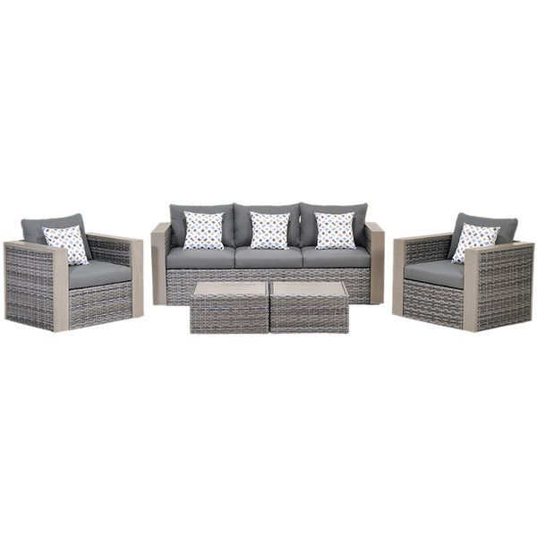 Cebu 5Pc Patio Set (14 920 SEK) ❤ liked on Polyvore featuring home, outdoors, patio furniture, outdoor patio sets and nocolor