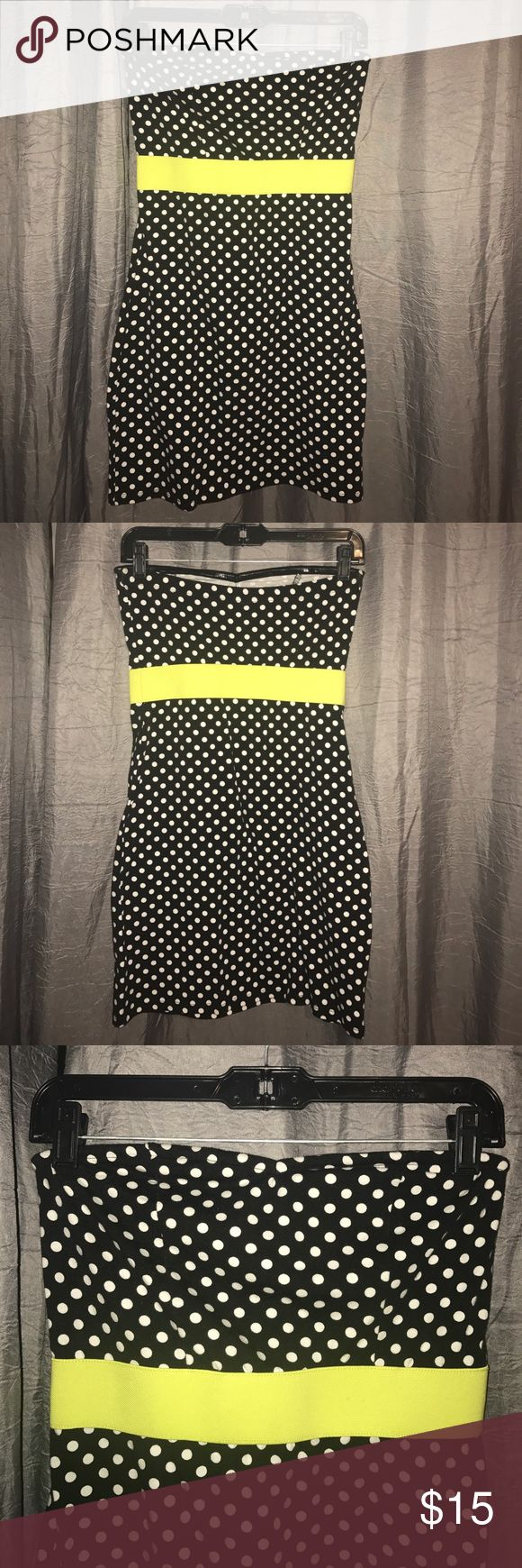 Polka Dot Bodycon Dress Black and while polka dot bodycon dress with like green waistband. Perfect for a party or night out! Tags are removed but has never been worn Xhilaration Dresses Midi