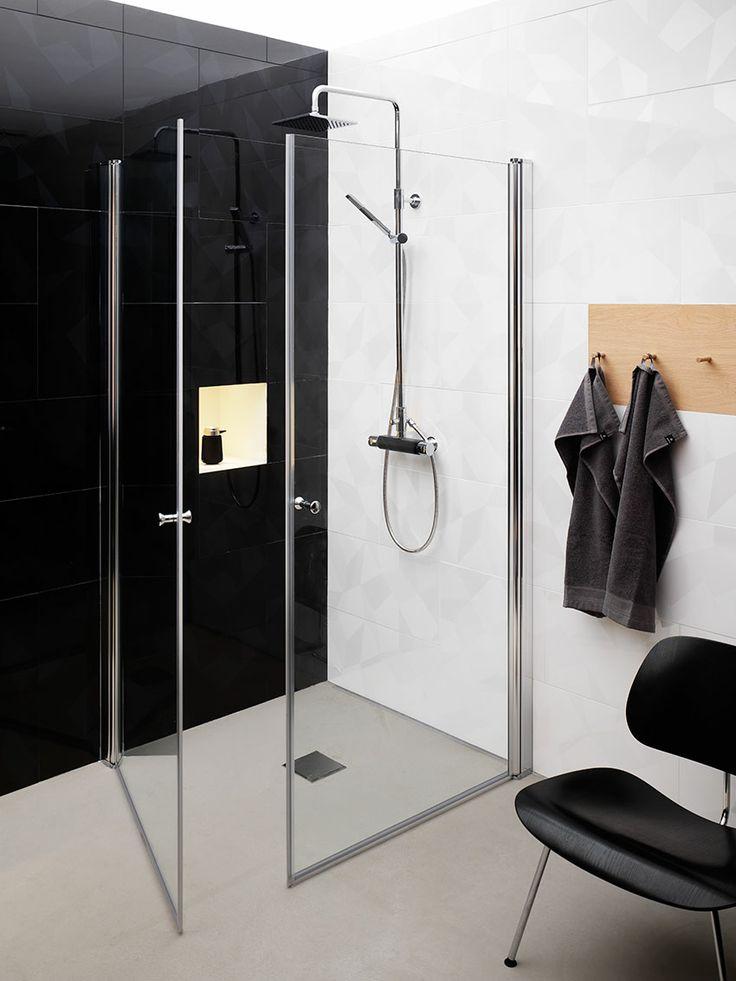 Duschset i svart utförande. Rymligt duschutrymme med lyxig känsla | GUSTAVSBERG