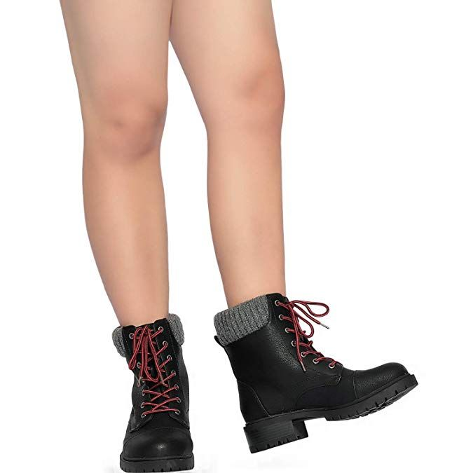 Womens Wide Width Combat Boots Low Stacked Heel Round Toe Sweater Cuff Lase up Warm Martin Boots.