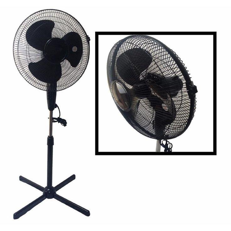 BoostWaves LavoHome Quiet 16 in. Black Standing Floor Fan