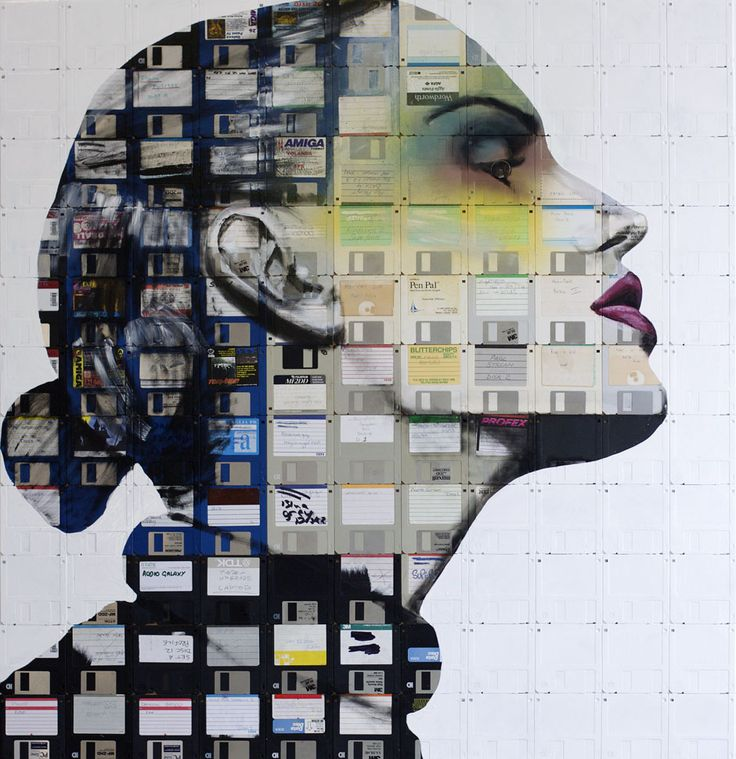 Nick Gentry  He is best known for his floppy disk paintings, placing an emphasis on recycling and the reuse of personal objects as a central theme: Floppy Disks, Nickgentry, Nick Gentry, Artist, Floppydisks, Floppy Disc, Painting, Disk Art