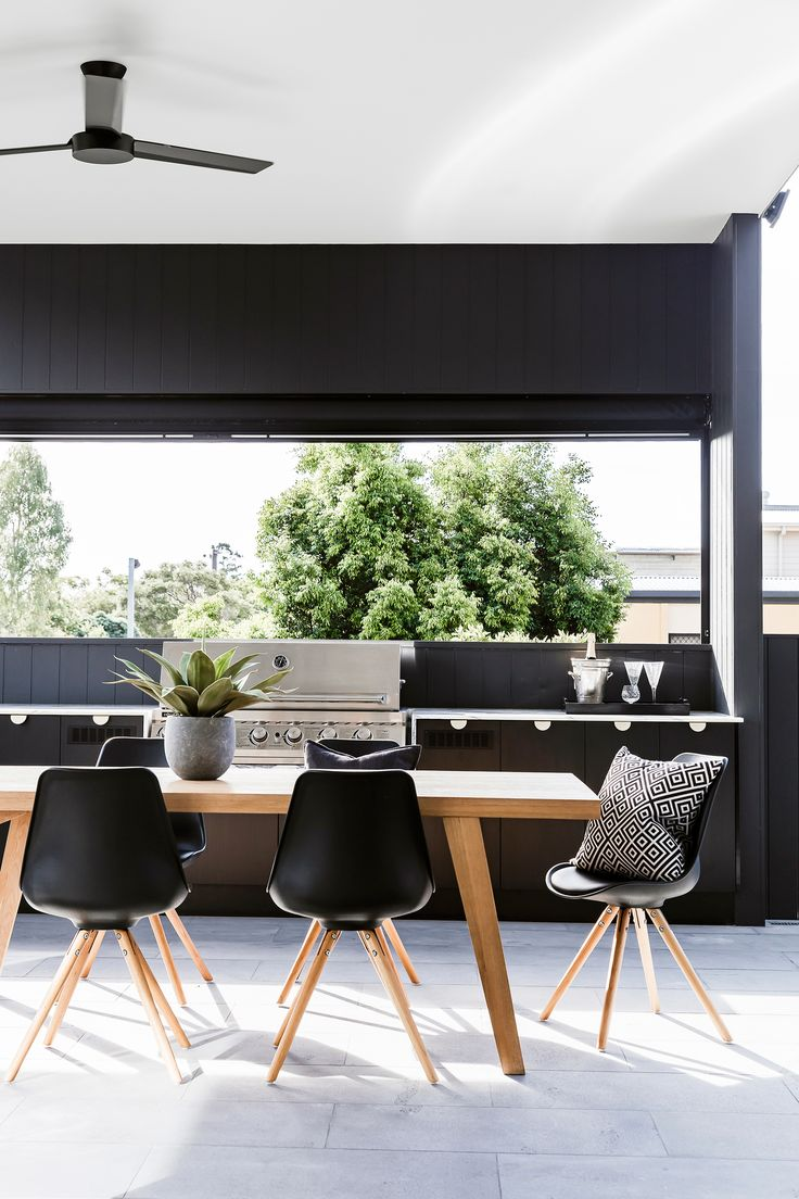 Outdoor room from contemporary new build Brisbane by Sutcom Constructions. Photography: Maree Homer | Styling: Kate Nixon | Story: Australian House & Garden
