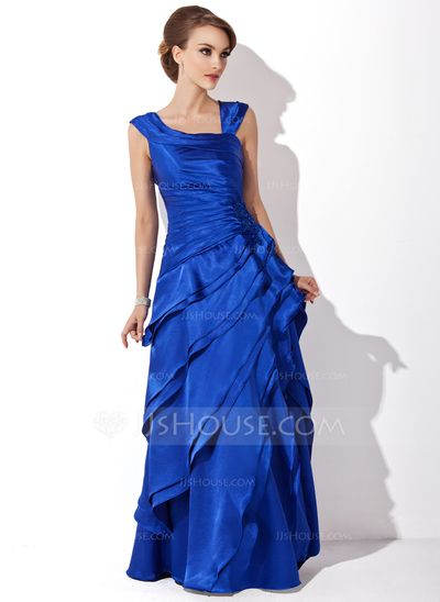 A-Line/Princess V-neck Floor-Length Charmeuse Mother of the Bride Dress With Cascading Ruffles (008006288)