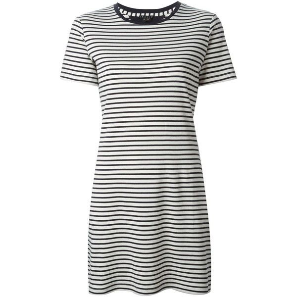 Theory Horizontal Stripe T-Shirt Dress (160 CAD) ❤ liked on Polyvore featuring dresses, vestidos, white, t shirt dress, cotton t shirt dress, tee dress, horizontal striped dress en white tee dress