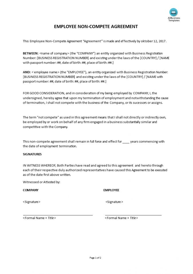 Business Non Compete Agreement Template in 2020   Business ...