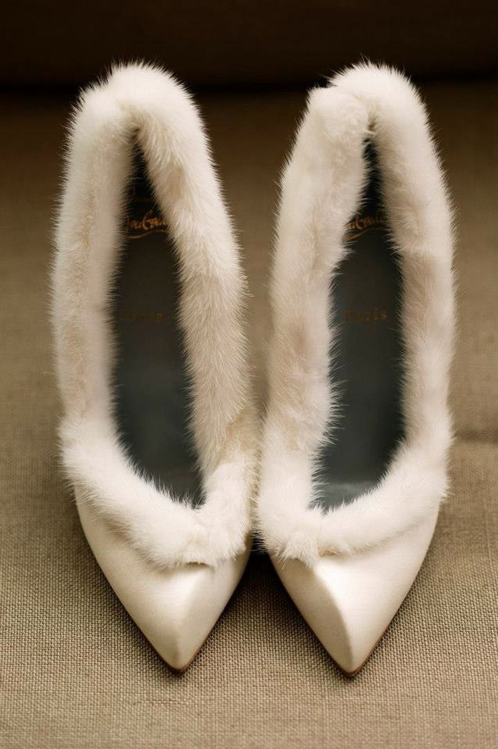 fur trimmed winter wedding shoes  ~  we ❤ this! moncheribridals.com