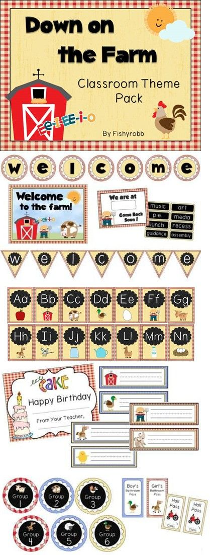 Farm themed classroom pack - 116 pages of signs, labels, banners, and more!