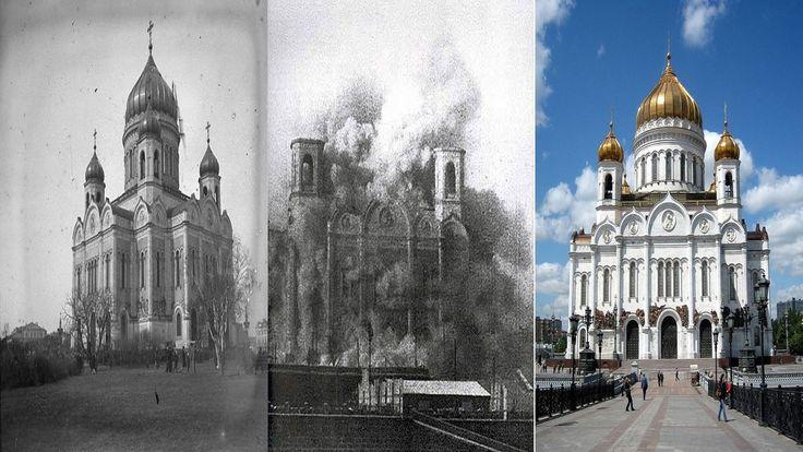 Catedral de Cristo Salvador construida en 1883 tras 44 años de trabajo. -Demolida para levantar el palacio de los soviets en 1931 por orden de Stalin-