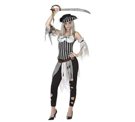 Disfraz de Pirata Muerta para mujer en varias tallas. Incluye sombrero, camiseta,mangas, cinturón y pantalón. Completa este disfraz de Pirata Fantasma con artículos de nuestra sección de accesorios como peluca, catalejo, monedas, parche, maquillaje, espada o sable, garfio... Perfecto para Halloween y Carnaval.