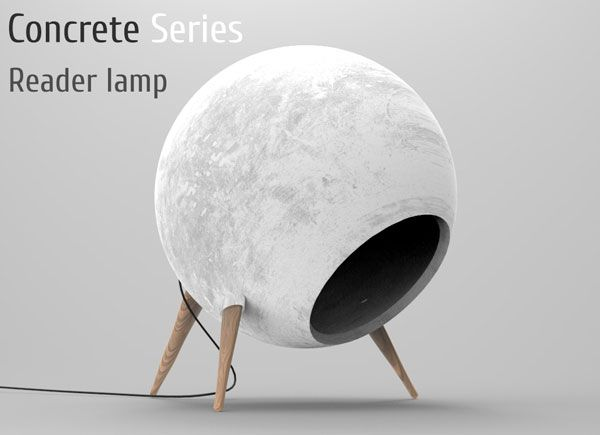 Concrete Reader - Desk Lamp by Alexander Krivoshlykov - The concrete material that forms the globe has a fun, planetary aesthetic with tactile peculiarity that's just begging to be touched! | Yanko Design