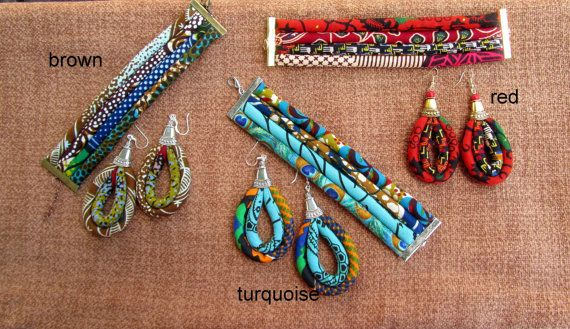 African Textile set - Colorful Fabric Jewelry Cuff Bracelet and Large Earrings Set