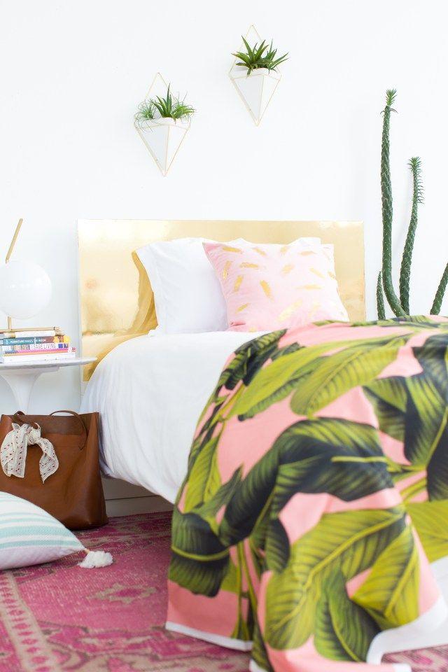 Sharing how to make this DIY diy faux brass headboard on Sugar & Cloth! - houston blogger - home decor
