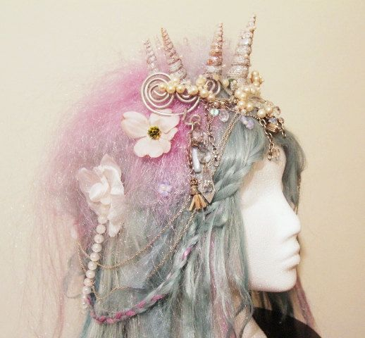 SALE! Mermaid Wig Shell Crown in Blue and Lilac with Pearl Beads & Plaits