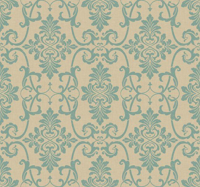 teal nn4098 textured acanthus damask wallpaper contemporary modern wallpaper - Contemporary Damask Wallpaper