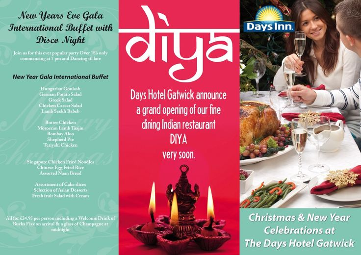 Trifold menu design, featuring a centre panel with an Indian theme.