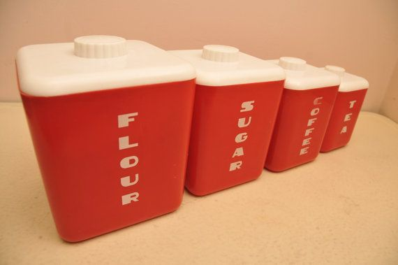 Vintage 1950s Plastic Red Kitchen Canister Set by whitepicket, $36.00