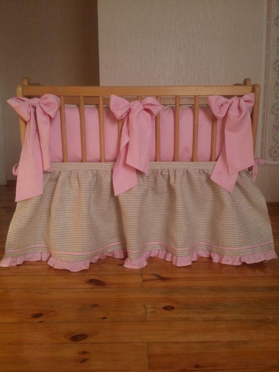 Cradle bedding Bassinet bedding Baby girl pink natural by Madalii