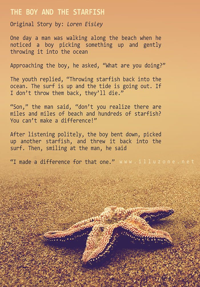 SHORT STORY | The boy and the starfish. http://illuzone.net/illu/short-story-the-boy-and-the-starfish