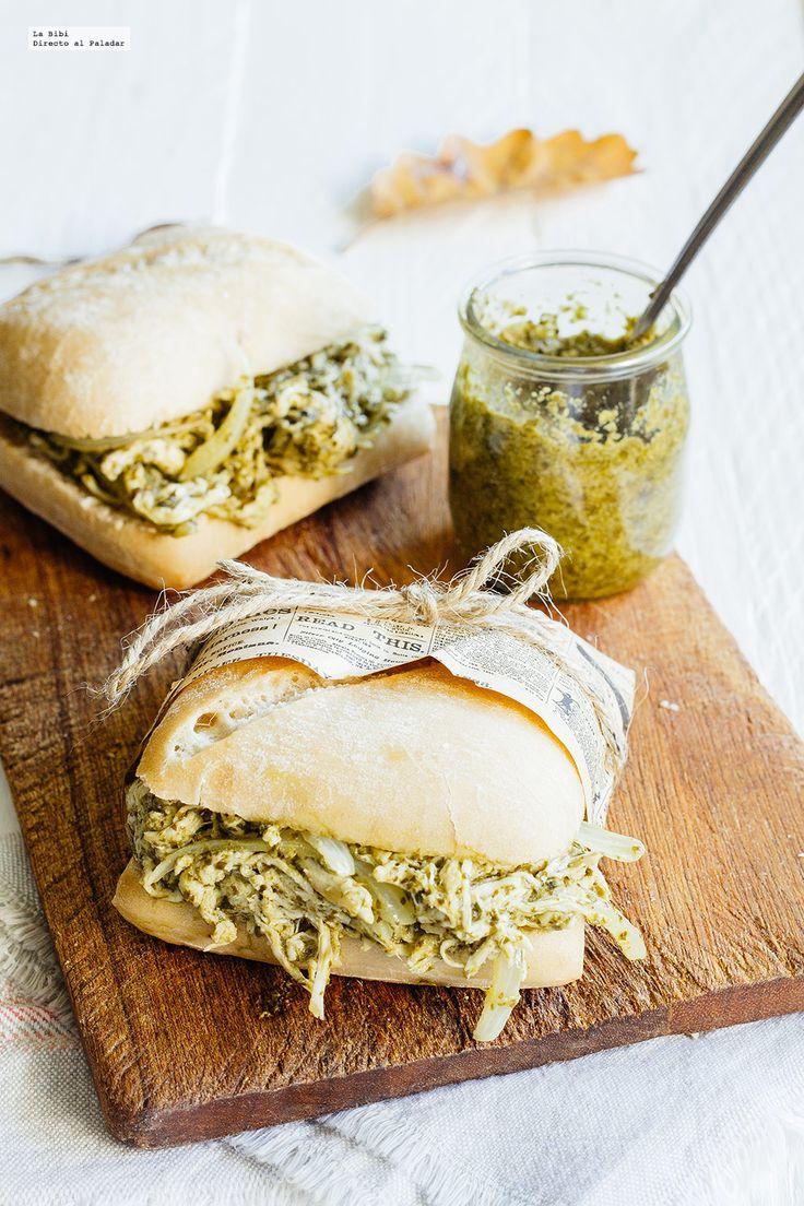 Receta de chapata con pollo y pesto de espinaca. Receta con fotografías del paso a paso y recomendaciones de degustación. Recetas de sádwiches