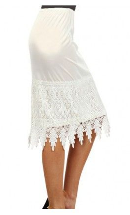 high-waist, knee-length skirt extender slip with frilled lace trim! Apostolic Clothing #modest #slips