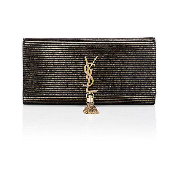 Saint Laurent Women's Monogram Kate Clutch ($1,790) ❤ liked on Polyvore featuring bags, handbags, clutches, black, stripe purse, tassel clutches, yves saint laurent, monogrammed handbags and striped purse