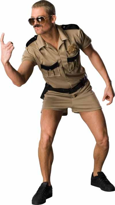 This costume includes a short and shirt combo in tan polyester with black epaulet and cargo pocket detailing, silver-tone buttons, a shiny badge, and a sturdy utility belt for keeping the goods in pla