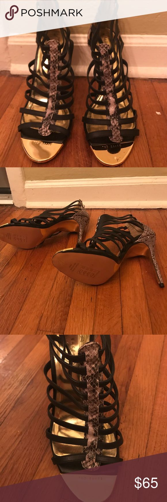 Ted Baker never worn strappy heels Never worn Ted Baker Heels with black straps contrasted with grey snakeskin on gold soles and heel. Shoes would be perfect for a night out or even to dress up a pair of jeans! Ted Baker Shoes Heels