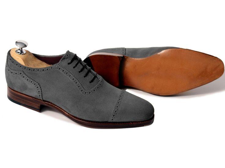 Handmade Men Dark Gray Oxford Shoes, Men Suede Leather Shoes, Men Shoes