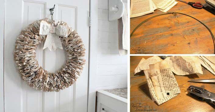 Kreatívny DIY nápad a návod urob si sám, ako si vyrobiť veniec zo stránok starej knihy v štýle vintage. Veniec zo stránok knihy, dekorácia na dvere