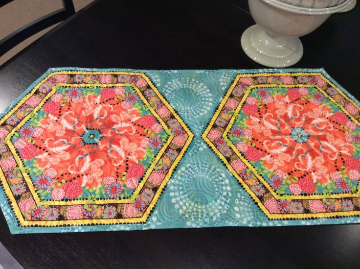 Springtime quilted hexagon table runner, peach and turquoise colors, patio table topper, dresser runner, coffee table mat, by SimplyQuiltingbyBarb on Etsy