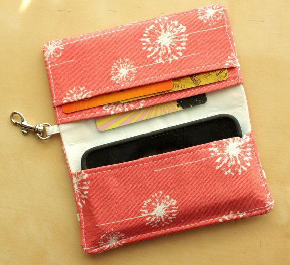 Coral Dandelion iPhone Cell Phone Wallet