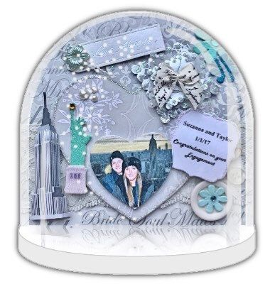 Engagement gift, Personalised snow globe, personalised snow globe, bridal shower gift, keepsake, gift with photo, NYC snow globe collectable