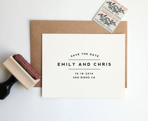 Save the Date Stamp, Custom Wedding Rubber Stamp (Wood Mounted) Large Minimalist Modern Design Personalized with Names, Date + Location...