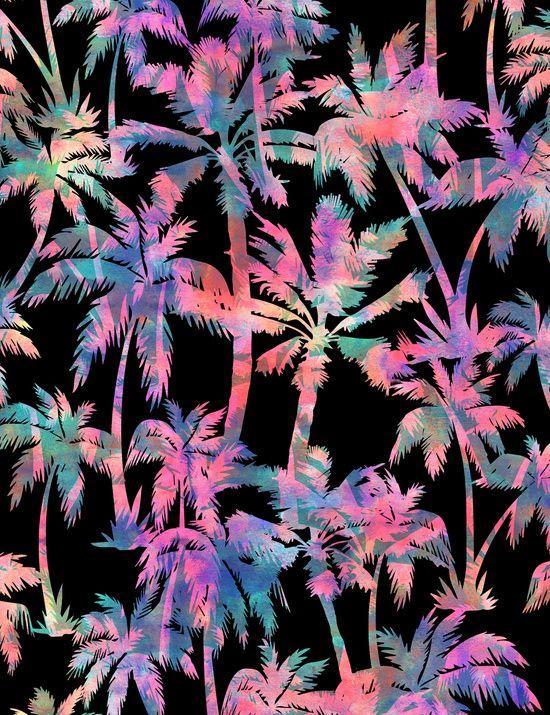 Maui Palm {Black} Art Print By SchatziBrown  #pattern #tropical #SchatziBrown