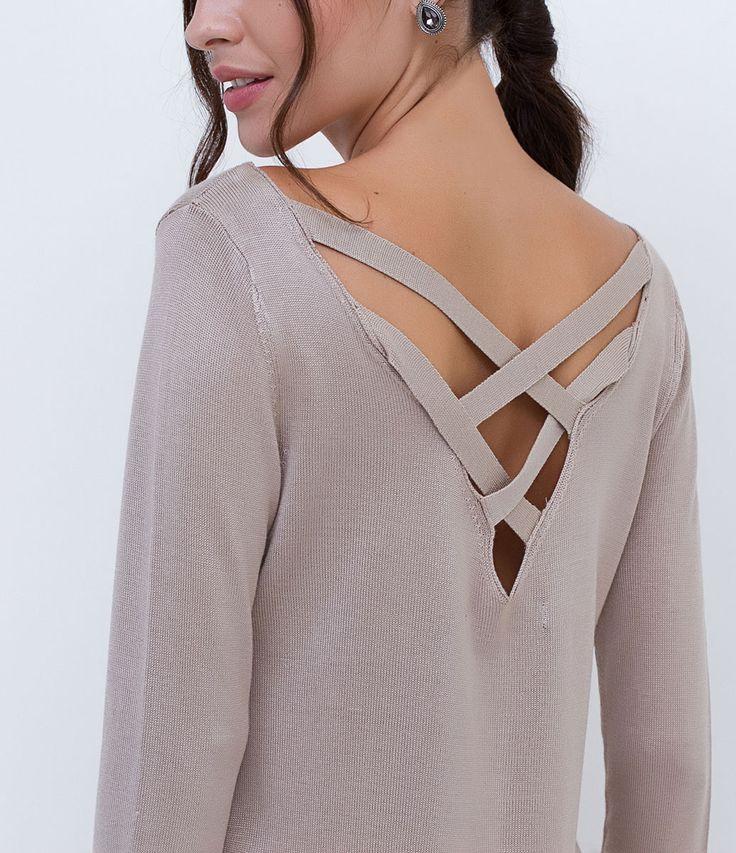 blusa feminina manga longa detalhe de tiras marca cortelle tecido retilnea composio