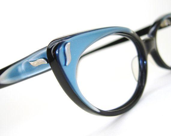 Vintage Blue Cat eye Glasses Eyeglasses or by Vintage50sEyewear