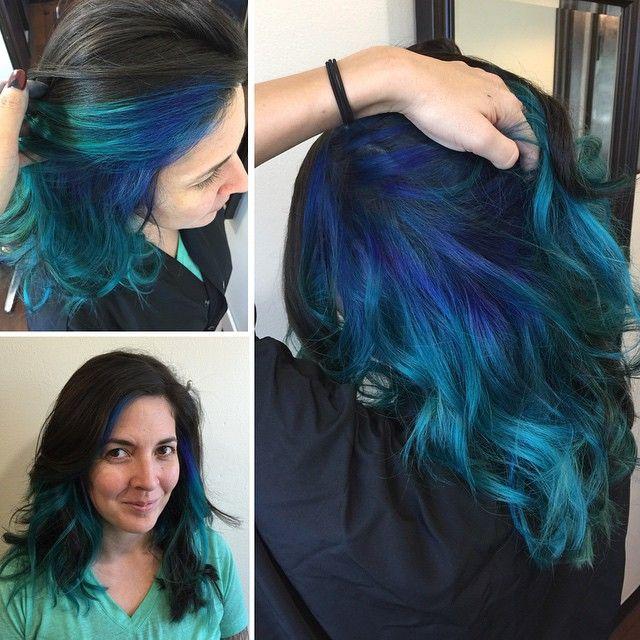 blue hair underneath brown google search - Blue Color Hair