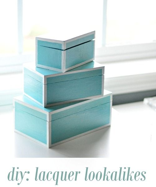 diy lacquer lookalike boxes: Boxes Diy, Crafts Ideas, Storage Boxes, Nests Boxes, Lacquer Lookalik, Lacquer Boxes, Centsat Girls, Diy Lacquer, Diy Projects