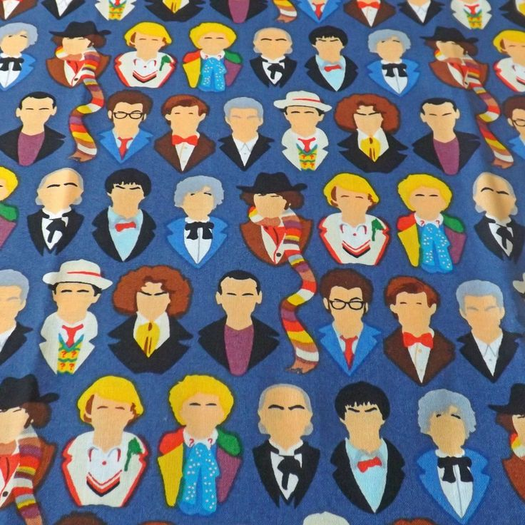 Adjustable bow tie made from the faces of the 12 doctors cotton fabric