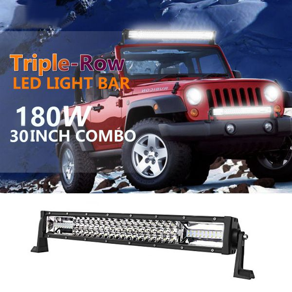 Toby S Tri Row Bar Light With Super And Long Lighting Distance 30 Inches And 180 Watts Automotive Led Lights Led Light Bars Curved Led Light Bar