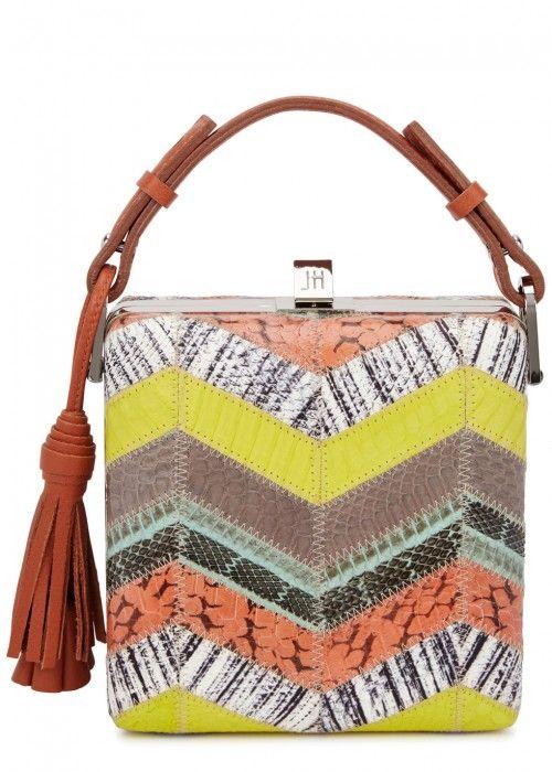 JILL HABER CHARLES ELAPHE BOX BAG. #jillhaber #bags #shoulder bags #hand bags #leather #lining #